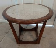 Antique Mid-Century Modern End Table with Marble Top from 1960s in Kingwood, Texas