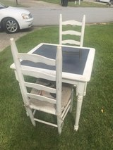 Vintage Shabby chic table w/2 chairs & cushions in Warner Robins, Georgia