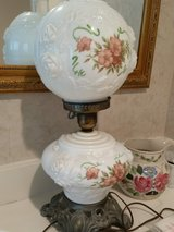 Antique Electric Hurricane Lamp with Double Globe, Floral Milk Glass with Embossed Roses, early ... in Kingwood, Texas