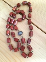 GENUINE CORAL AND NEPALESE ETCHED STERLING SILVER BEAD ARTISAN NECKLACE in Sandwich, Illinois