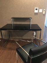 Computer Table, Chair and Monitor Stand - Black Lacquer Painted and Chrome Design in Okinawa, Japan