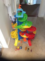 FISHER PRICE LITTLE PEOPLE TALL RACING TRACK & TODDLER CARS in Lakenheath, UK