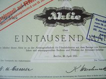 1921 German Stock Certificate in Wiesbaden, GE