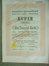 German Stock Certificate (1922) in Wiesbaden, GE