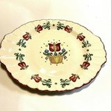 "American Limoges OLD DUTCH 13.75"" x 11"" Oval Platter, Dark Red Tulips, c. 1940s in Clarksville, Tennessee"