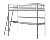 IKEA SVÄRTA Loft bed frame with desk top, silver-colour, 90x200 cm in Ramstein, Germany