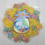 """20"""" Summer Wreath with Beach Vibes Sign and Flip Flop Ribbon in Camp Lejeune, North Carolina"""