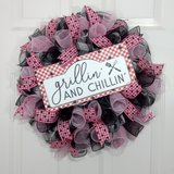 Summer Buffalo Plaid Wreath Grilling in Pink and Black in Camp Lejeune, North Carolina