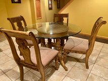 Dinette Set with 4 Highback chairs and glass top in Naperville, Illinois