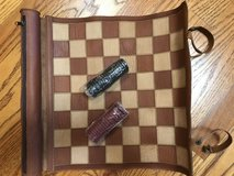 Leather Checkers Travel Set (like new) in Oswego, Illinois