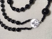 Catholic Rosary Black Obsidian Beads Italian Silver Medal and Crucifix Necklace in Kingwood, Texas