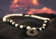 Polynesian style necklace with lava and pearls in Heidelberg, GE