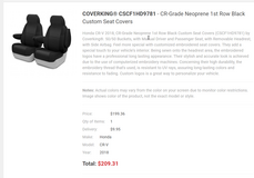 Coverking Car Seat Covers 2018 Honda Cr-V in Fort Campbell, Kentucky