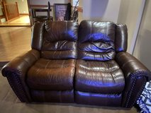 Leather recliner love seat sofa in Naperville, Illinois