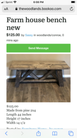 Farmhouse bench New in Conroe, Texas