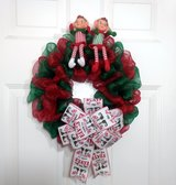 """16"""" Green & Red Deco Mesh Christmas Wreaty with Elves in Camp Lejeune, North Carolina"""