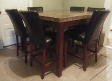 TALL GRANITE COUNTER TABLE WITH 6 COUNTER CHAIRS. in Denton, Texas