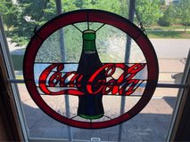 Coca Cola stained glass hanging in Bartlett, Illinois