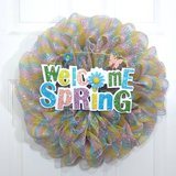 Spring Wreath in Pink Blue and Yellow Striped Mesh with Welcome Sign in Camp Lejeune, North Carolina