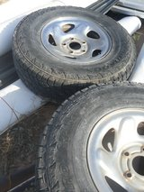 Chrome 5 lug 16in Dodge style rims with tires in Alamogordo, New Mexico