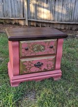 Distressed Coral Side Dresser with Stained Top Design in The Woodlands, Texas