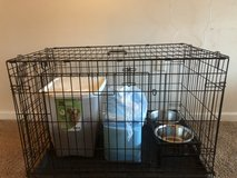 Double Door Folding Crate w puppy supplies***Almost new!!! in Beaufort, South Carolina