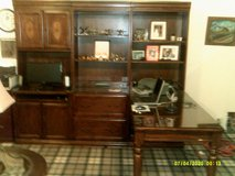 OFFICE DESK OAK  L STYLE ,3- SECTION SETUP , W, GLASS TOP ALL AROUND , 2-FILE CABNET , BOOK SHEL... in Naperville, Illinois