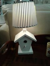 White Birdhouse Lamp w/Striped Shade #1867-55 in Camp Lejeune, North Carolina