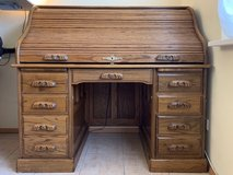 Roll Top Desk - Solid Oak, Amish Made in Ramstein, Germany