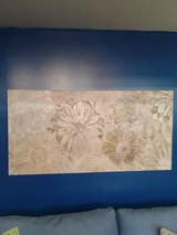 Tan, White, and Cream Floral Print on Canvas #2429-26 in Camp Lejeune, North Carolina
