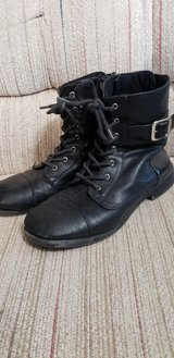 Big Girl Size 4 Faux Leather Moto Boots Reduced in St. Charles, Illinois