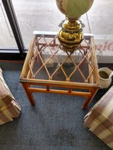 Glass Top Bamboo Base Side Table in Naperville, Illinois