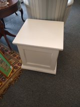 White Cube End Table with Storage in Chicago, Illinois