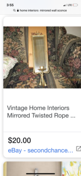 Home interiors twisted rope sconce in Naperville, Illinois
