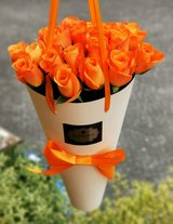 Flower bag with roses & Hand written note - Gift in Ramstein, Germany