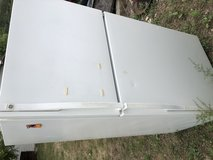 Old fridge and bench seat in Fort Leonard Wood, Missouri