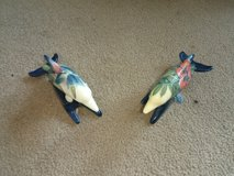 Pair of Old Tupton Ware Porcelain Dolphins Very Colourful in Lakenheath, UK