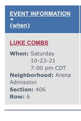 2- Tickets to Luke Combs Toyota Center in Kingwood, Texas