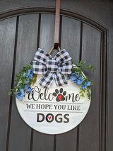 Wooden 15in round welcome door sign in Fort Bragg, North Carolina