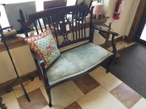 Antique Wood and Upholstered Seat Double Bench in Fort Leonard Wood, Missouri