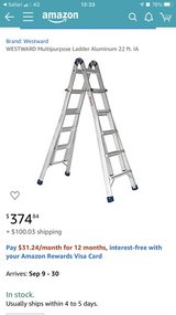 WESTWARD Brand New Aluminum Ladder extendable to 22ft in Okinawa, Japan