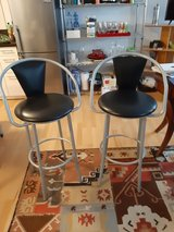Tall stools  black leather seats, steel frame in Wiesbaden, GE
