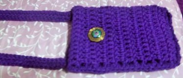 NEW PURPLE CROCHETED CELL PHONE POUCH WITH SHOULDER STRAP in Alamogordo, New Mexico