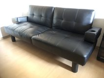 Black Faux Leather Futon w/ 2 Cup Holders & Adjustable Armrest in Ramstein, Germany