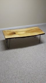 live edge wood coffee table w/ metal legs in Batavia, Illinois
