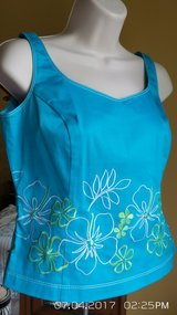 EMBROIDERED TURQUOISE TOPS WITH MATCHING FLORAL SKIRT SIZE 4 BY ISLAND REPUBLIC in Plainfield, Illinois