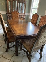 Old World style Dining table with 10 chairs and China Cabinet in Tomball, Texas