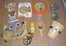 NEW Minions 10 Piece Toys Backpack Bag Frisbee Bubbles Body Wash w Wash Mitt Metal Bucket Pail in Morris, Illinois
