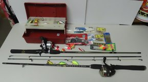 2 Rods & Reels + Small box of Tackle, REDUCED. in Fort Campbell, Kentucky