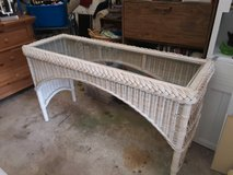 White Wicker Sofa Table in Beaufort, South Carolina